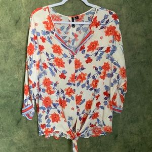 New Direction Red Blue Floral Knot Blouse